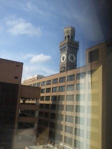 View of Bromo Seltzer Tower from my hotel.