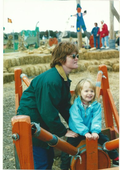My wife and daughter at Cox Farms in 2001.